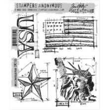 Tim Holtz Cling Stamps 7X8.5 - Americana Blueprint