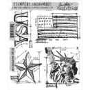Tim Holtz Cling Rubber Stamp Set - Americana Blueprint