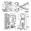 Tim Holtz Cling Rubber Stamp Set - Sewing Blueprint