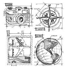 Tim Holtz Cling Stamps 7X8.5 - Travel Blueprint