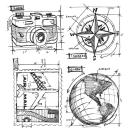 Tim Holtz Cling Rubber Stamp Set - Travel Blueprint