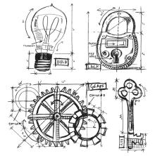 Tim Holtz Cling Stamps 7X8.5 - Industrial Blueprint