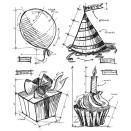 Tim Holtz Cling Rubber Stamp Set -  Birthday Blueprint