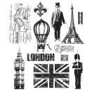 Tim Holtz Large Cling Rubber Stamp Set - Paris To London