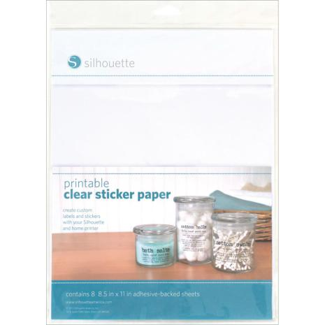 Silhouette Printable Clear Sticker Paper 8.5X11 8/Pkg