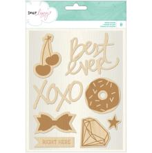 American Crafts Dear Lizzy Serendipity Wood Veneer Shapes 8/Pkg UTGÅENDE
