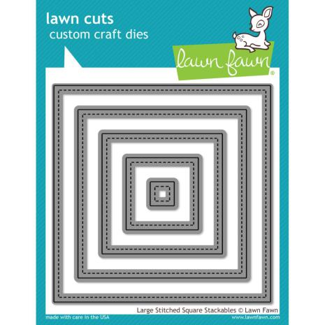 Lawn Fawn Custom Craft Die - Large Stitched Square Stackables