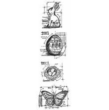 Tim Holtz Cling Stamps 3X10 Mini Blueprint Strip - Easter