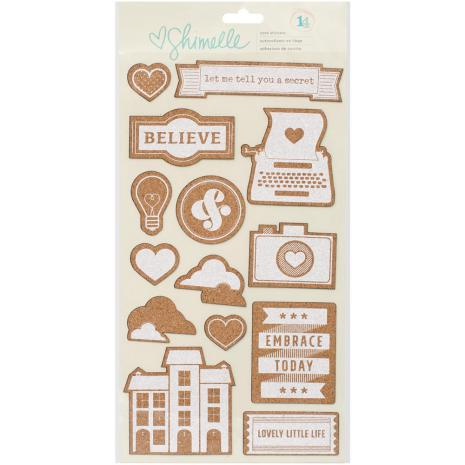 American Crafts Cork Stickers - Shimelle True Stories UTGÅENDE