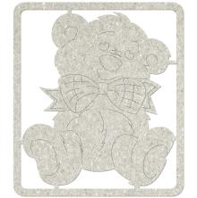 FabScraps Die-Cut Gray Chipboard Embellishments 5X4.5inch- Teddy Bear