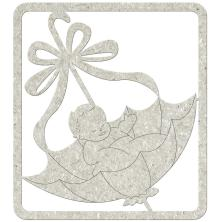 FabScraps Die-Cut Gray Chipboard Embellishments 4X3.5inch - Baby In Umbrella