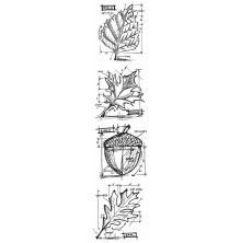 Tim Holtz Cling Stamps 3X10 Mini Blueprint Strip - Autumn