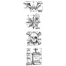 Tim Holtz Cling Stamps 3X10 Mini Blueprint Strip - Halloween