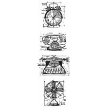 Tim Holtz Cling Stamps 3X10 Mini Blueprint Strip - Vintage Things