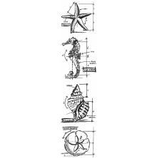Tim Holtz Cling Stamps 3X10 Mini Blueprint Strip - Nautical