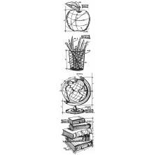 Tim Holtz Cling Stamps 3X10 Mini Blueprint Strip - Schoolhouse