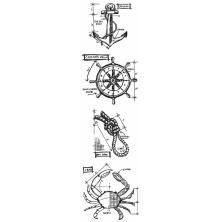 Tim Holtz Cling Stamps 3X10 Mini Blueprint Strip - Mariner