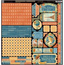 Graphic 45 Cardstock Stickers 12X12 - Worlds Fair UTGÅENDE