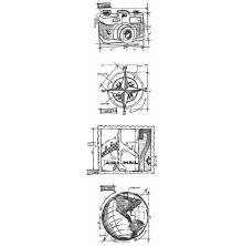 Tim Holtz Cling Stamps 3X10 Mini Blueprint Strip - Travel