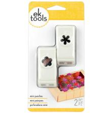 EK Success Mini Punches 2/Pkg - Flower & Retro Flower