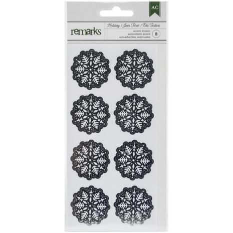 American Crafts Holiday Remarks Glitter Stickers - Silver Snowflakes UTGÅENDE