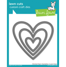 Lawn Fawn Custom Craft Die - Stitched Heart Stackables