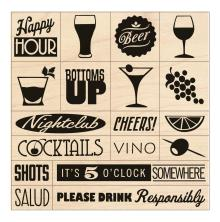 Inkadinkado Mounted Stamp Set 3X3 - Cheers