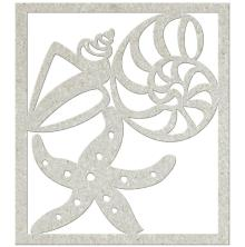 FabScraps Beach Bliss Die-Cut Chipboard Shape - Shells & Starfish