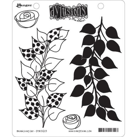 Dylusions Cling Stamp 4/Pkg - Branching Out