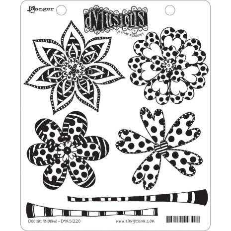 Ranger Ink Dyan Reaveley Dylusions Cling Stamp 6/Pkg - Doodle Blooms