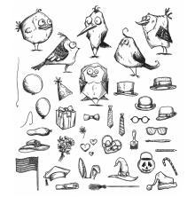 Tim Holtz Cling Stamps 7X8.5 - Mini Bird Crazy & Things
