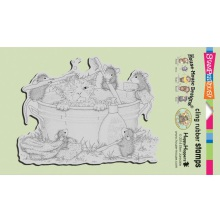 Stampendous House Mouse Cling Stamp 4X6 - Kitty Cleaning