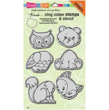 Stampendous Frans Cling Stamps & Stencil 5X7 - Woodland Friends