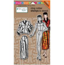 Stampendous N*Studio Stamps & Stencil 5X8 - Fashion Dame