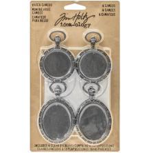 Tim Holtz Idea-Ology Metal Watch Cameos - Antique Nickel