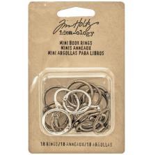 Tim Holtz Idea-Ology Mini Book Rings - Silver, Antique Brass & Antique Copper