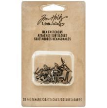 Tim Holtz Idea-Ology Hex Paper Fasteners - Antique Nickel, Brass & Copper