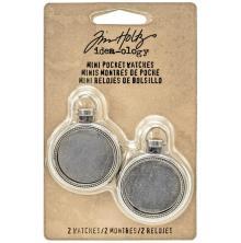 Tim Holtz Idea-Ology Mini Pocket Watch Frames - Antique Nickel