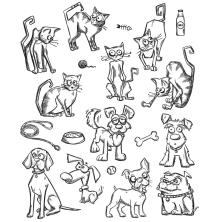Tim Holtz Cling Stamps 7X8.5 - Mini Cats & Dogs