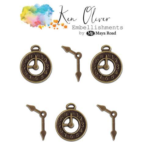 Ken Oliver Metal Embellishments 6/Pkg - Vintage Clocks & Hands