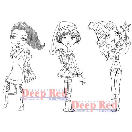 Deep Red Cling Stamp 4X6 - City Girls Holiday Cheer