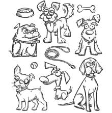 Tim Holtz Cling Stamps 7X8.5 - Crazy Dogs