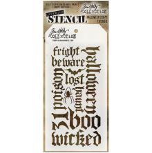 Tim Holtz Layered Stencil 4.125X8.5 - Hallloween Script