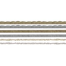 Tim Holtz Idea-Ology Metallic Trimmings 1yd 6/Pkg - Gold & Silver