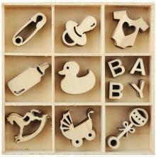 Kaisercraft Wooden Shapes 60/Pkg - Baby
