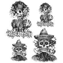 Tim Holtz Cling Stamps 7X8.5 - Day Of The Dead 1