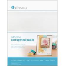 Silhouette Adhesive Back Corrugated Paper 8.5X11 6/Pkg - White & Kraft