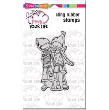 Stampendous Pink Your Life Cling Stamp 6.5X4.5 - Whisper Friendship UTGÅENDE