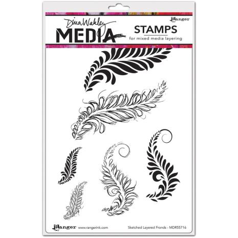 Dina Wakley Media Cling Stamps 6X9 - Sketched Layered Fronds