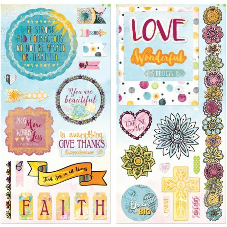 BoBunny Chipboard Accents 6X12 2/Pkg - Faith